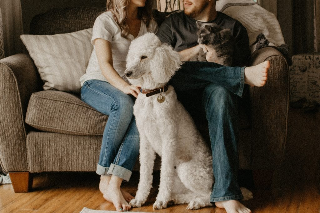 couple with a cat and dog