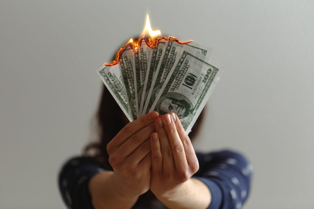 money on fire